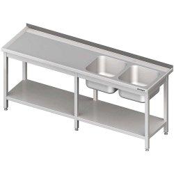 Stół ze zlewem 2-kom.(P),z półką 2200x700x850 mm