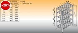Regał z półkami stałymi ociekowymi lo 603 - 1300x400
