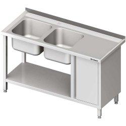 Stół ze zlew 2-kom.(L), z szafką i półką 1600x600x850 mm