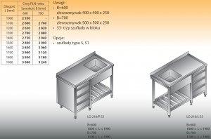 Stół zlewozmywakowy 1-zbiornikowy lo 210/s3 - 1400x700