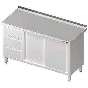Stół przyścienny z blokiem trzech szuflad (L),drzwi suwane 1900x700x850 mm