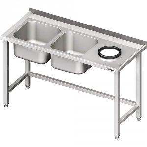 Stół przyścienny ze zlewem bez półki z otworem 1400x700x850 mm, 2-komory po lewej spawany