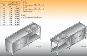 Stół zlewozmywakowy 2-zbiornikowy lo 248 - 2600x700