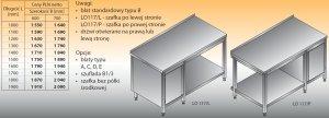 Stół roboczy z szafką i półką lo 117/l; lo 117/p 1200/600