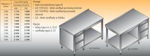 Stół roboczy z blokiem szuflad i półką lo 135/s2 - 1900x600