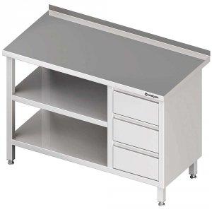 Stół przyścienny z blokiem trzech szuflad (P),i 2-ma półkami 1800x700x850 mm
