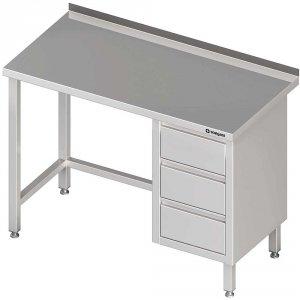 Stół przyścienny z blokiem trzech szuflad (P),bez półki 1300x700x850 mm