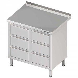 Stół przyścienny z blokiem sześciu szuflad 840x700x850 mm