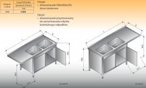 Stół zlewozmywakowy 2-zbiornikowy z szafką lo 347 lewy Lozamet