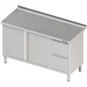 Stół przyścienny z blokiem dwóch szuflad (P),drzwi skrzydłowe 1700x700x850 mm
