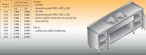 Stół zlewozmywakowy 2-zbiornikowy lo 251 - 2700x600