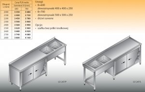 Stół zlewozmywakowy 2-zbiornikowy lo 247 - 2700x600