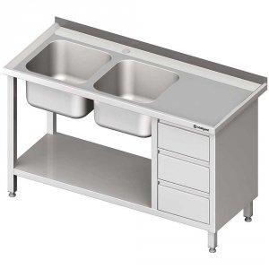 Stół ze zlewem 2-kom.(L), z blokiem trzech szuflad i półką 1800x700x850 mm