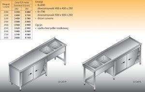Stół zlewozmywakowy 2-zbiornikowy lo 247 - 2800x700