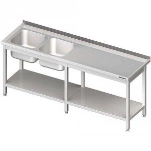 Stół ze zlewem 2-kom.(L),z półką 2600x600x850 mm