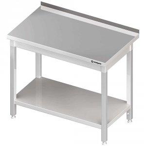 Stół stalowy z półką, przyścienny, skręcany, 1800x600x850 mm