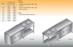 Stół zlewozmywakowy 2-zbiornikowy lo 248 - 2400x700