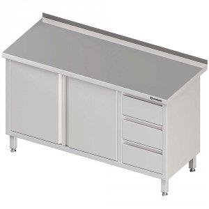 Stół przyścienny z blokiem trzech szuflad (P),drzwi skrzydłowe 1700x700x850 mm