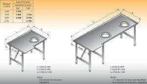 Stół sortowniczy kątowy prawy lo 308 - 2700x1200 Lozamet