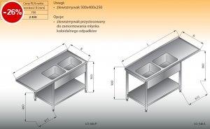 Stół zlewozmywakowy 2-zbiornikowy z półką lo 346 prawy Lozamet