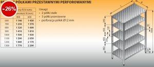 Regał z półkami przestawnymi perforowanymi lo 607 - 900x400