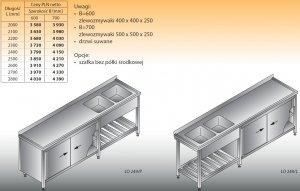 Stół zlewozmywakowy 2-zbiornikowy lo 249 - 2600x700