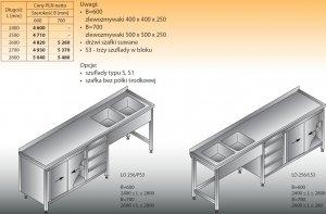 Stół zlewozmywakowy 2-zbiornikowy lo 256/s3 - 2700x700