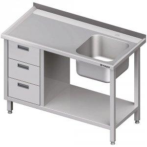 Stół ze zlewem 1-kom.(P), z blokiem trzech szuflad i półką 1800x700x850 mm