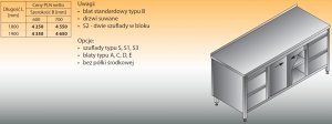 Stół roboczy z dwoma blokami szuflad i szafką lo 146/s2 - 1800x600