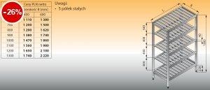 Regał z półkami stałymi ociekowymi lo 603 - 1000x600