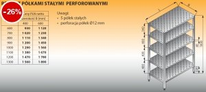Regał z półkami stałymi perforowanymi lo 604 - 800x400