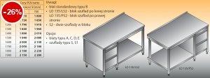 Stół roboczy z blokiem szuflad i półką lo 135/s2 - 1000x600