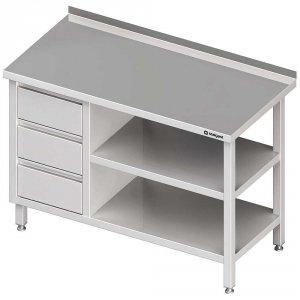 Stół przyścienny z blokiem trzech szuflad (L),i 2-ma półkami 1500x700x850 mm
