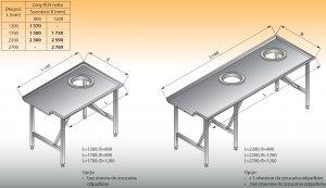 Stół sortowniczy prosty lewy lo 304 - 2700x1200 Lozamet