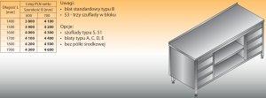 Stół roboczy z dwoma blokami szuflad i szafką otwartą lo 144/s3 - 1800x600