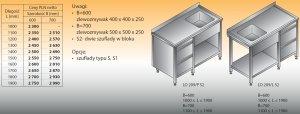 Stół zlewozmywakowy 1-zbiornikowy lo 209/s2 - 1800x700