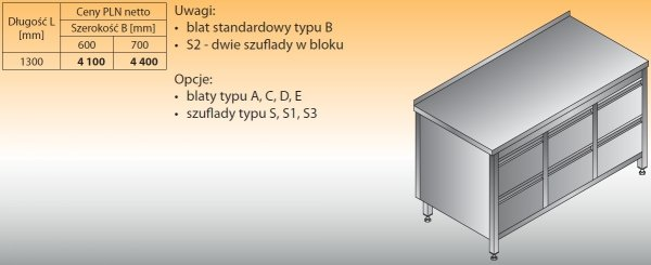 Stół roboczy z trzema blokami szuflad lo 133/s2 1300/700