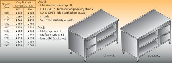 Stół roboczy z blokiem szuflad i szafką otwartą lo 136/s2 - 1200x600