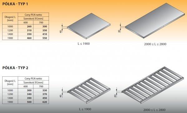 Półka - typ 1 1200/600