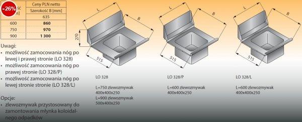 Płyta stołu przelotowego ze zlewozmywakiem lo 328 - 750x635 Lozamet