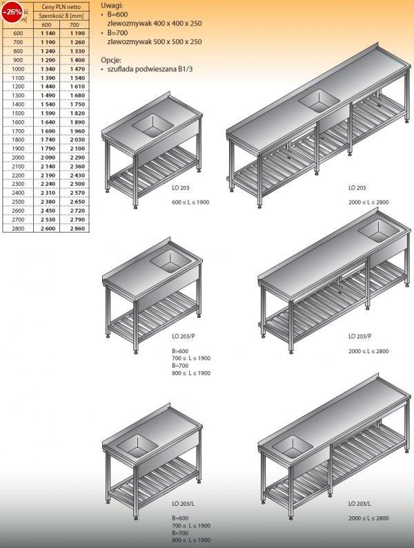 Stół zlewozmywakowy 1-zbiornikowy lo 203 - 600x600