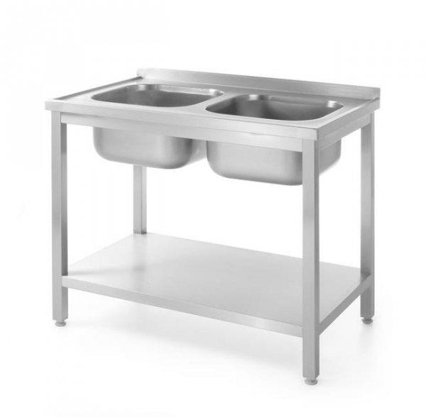 Stół z dwoma zlewami z półką - skręcany, o wym.1000x600x(H)850 mm