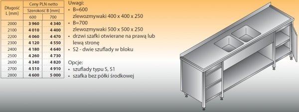 Stół zlewozmywakowy 2-zbiornikowy lo 251/s2 - 2000x600