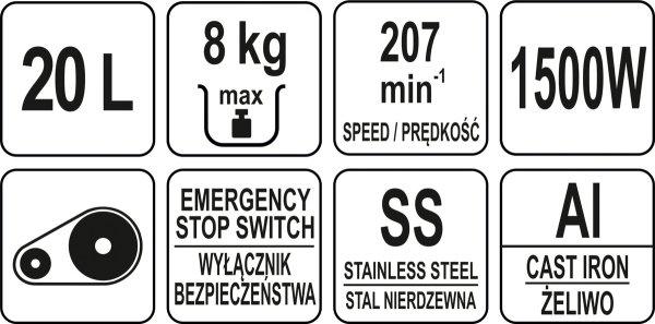 MIKSER SPIRALNY 20L Z 2 NAPĘDAMI - Yato YG-03060