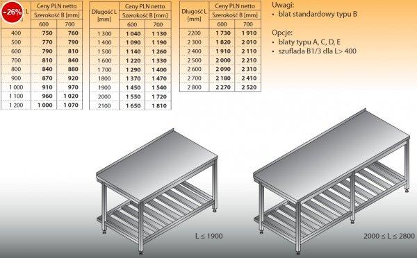 Stół roboczy lo 103 400/600