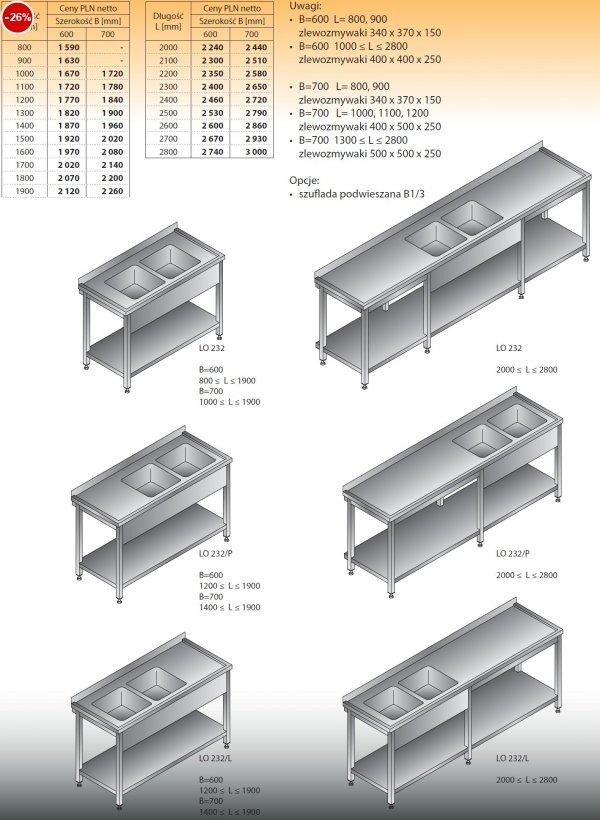 Stół zlewozmywakowy 2-zbiornikowy lo 232 - 800x600