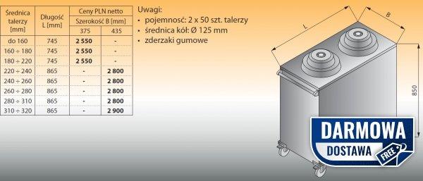 Wózek do talerzy z podajnikiem lo 812 - 745x375 tal do 160