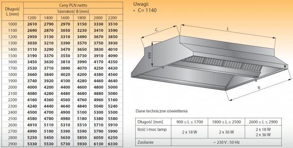 Okap centralny z oświetleniem lo 911 - 1800x1600
