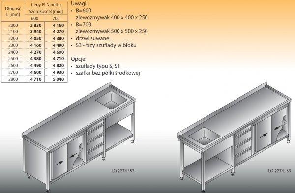 Stół zlewozmywakowy 1-zbiornikowy lo 227/s3 - 2000x600