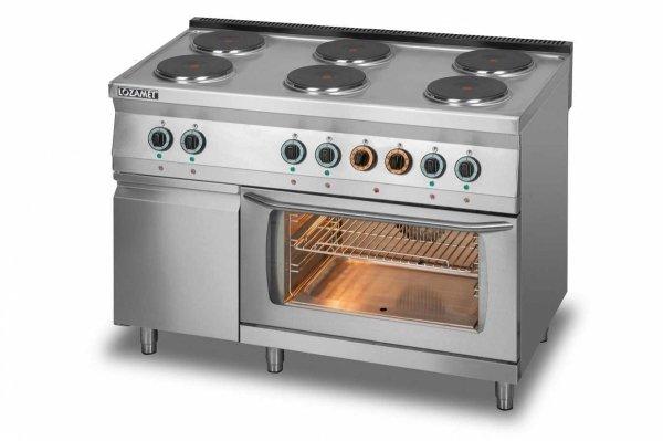 Kuchnia elektryczna 6-płytowa z piekarnikiem elektrycznym z termoobiegiem GN1/1 i szafką L700.KEO6 PET+SD Lozamet